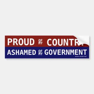 Orgulloso de mi país avergonzado de mi gobierno pegatina de parachoque