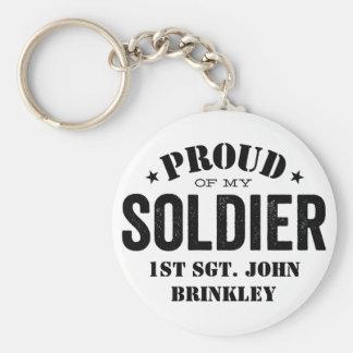 Orgulloso de mi SOLDADO del ejército Llavero Redondo Tipo Pin