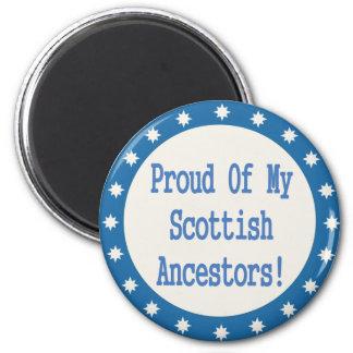 Orgulloso de mis antepasados escoceses imán redondo 5 cm