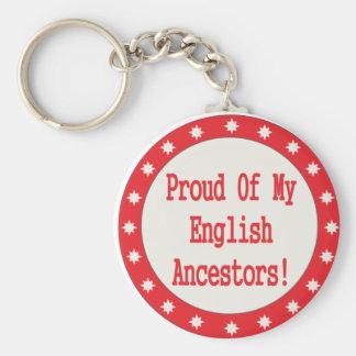 Orgulloso de mis antepasados ingleses llavero redondo tipo pin