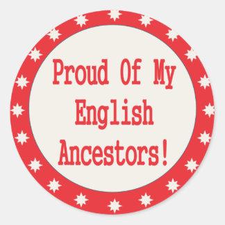Orgulloso de mis antepasados ingleses pegatina redonda