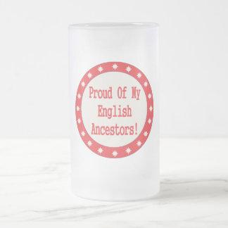 Orgulloso de mis antepasados ingleses taza cristal mate