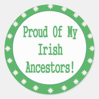 Orgulloso de mis antepasados irlandeses pegatina redonda