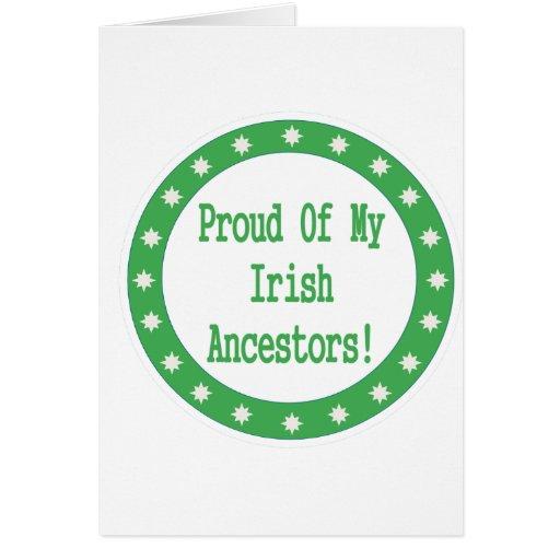 Orgulloso de mis antepasados irlandeses felicitacion