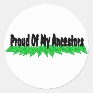 Orgulloso de mis antepasados etiqueta redonda