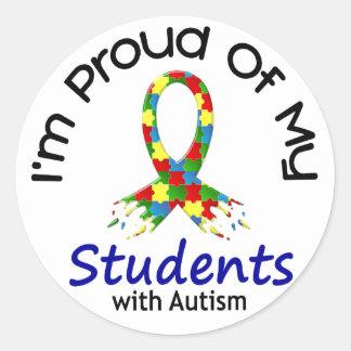 Orgulloso de mis estudiantes autísticos 1 pegatina redonda