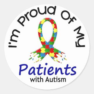 Orgulloso de mis pacientes autísticos 1 CONCIENCIA Etiquetas Redondas
