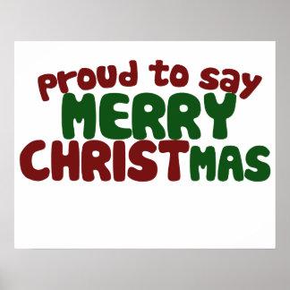 Orgulloso decir Felices Navidad Póster