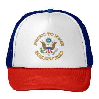 Orgulloso haber servido el gorra