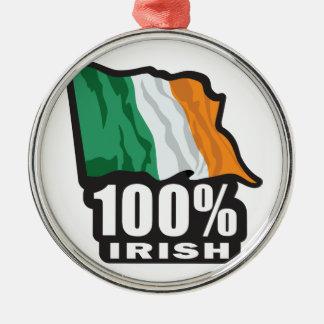 Orgulloso irlandés del 100% ser irlandés adorno redondo plateado