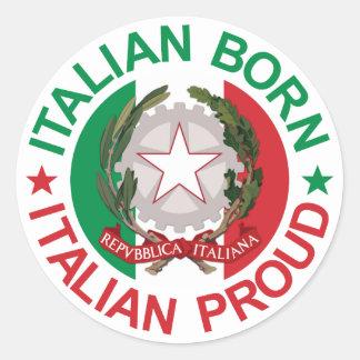 Orgulloso italiano llevada italiano etiqueta redonda