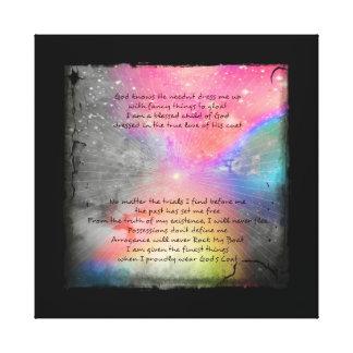 Orgulloso la capa de dios del desgaste impresión en lienzo