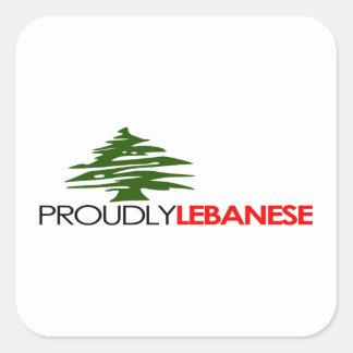 Orgulloso libanés, libanés y orgulloso - Líbano Pegatina Cuadrada