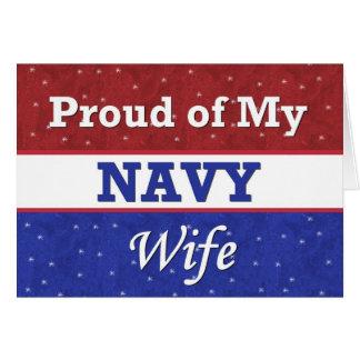 Orgulloso militar de mi esposa de la marina de tarjeta de felicitación