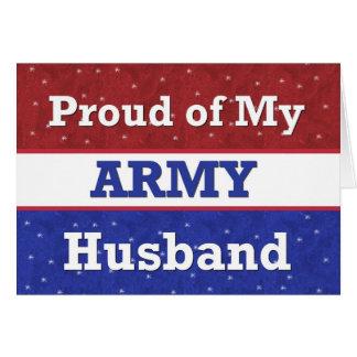 Orgulloso militar de mi marido del ejército que tarjeta de felicitación