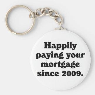 Orgulloso pagar su hipoteca llavero redondo tipo pin
