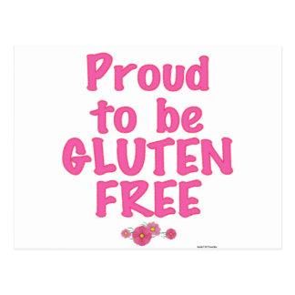 Orgulloso para ser gluten libre - rosa tarjetas postales