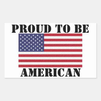 Orgulloso patriótico y potente ser americano pegatina rectangular