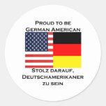 Orgulloso ser americano alemán pegatina redonda
