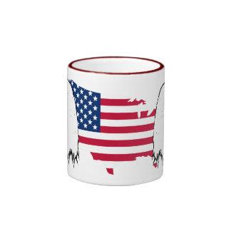 Orgulloso ser americano - bandera de los E.E.U.U. Tazas De Café