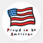 Orgulloso ser americano etiqueta redonda