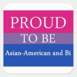 Orgulloso ser americano y BI asiáticos Pegatina Cuadradas