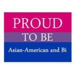 Orgulloso ser americano y BI asiáticos Tarjetas Postales