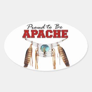 Orgulloso ser Apache Pegatina Ovalada