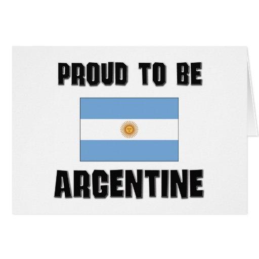 Orgulloso ser ARGENTINA Tarjeta De Felicitación