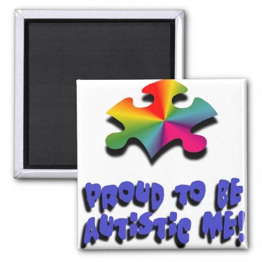 Orgulloso ser autístico yo imán cuadrado