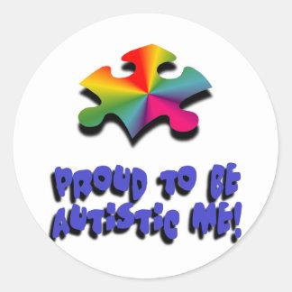 Orgulloso ser autístico yo pegatina redonda