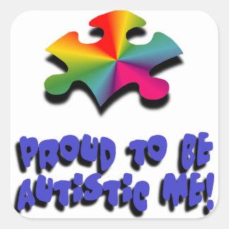Orgulloso ser autístico yo pegatina cuadrada