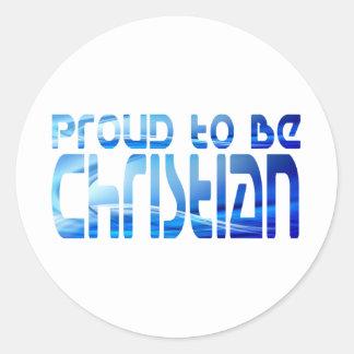 Orgulloso ser Bleu cristiano 2 Etiquetas Redondas