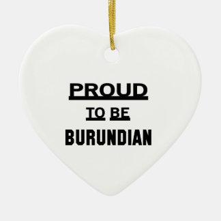 Orgulloso ser burundés adorno navideño de cerámica en forma de corazón