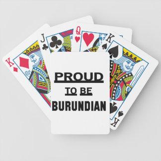 Orgulloso ser burundés cartas de juego