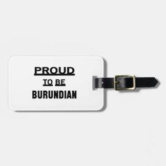 Orgulloso ser burundés etiquetas maletas