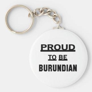 Orgulloso ser burundés llavero redondo tipo pin