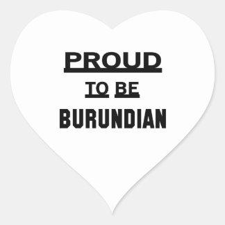 Orgulloso ser burundés pegatina en forma de corazón