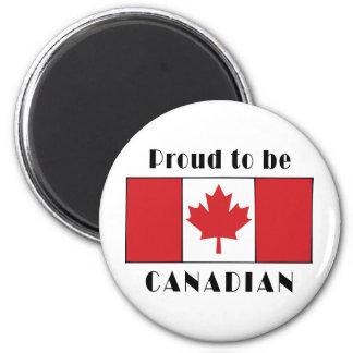 Orgulloso ser canadiense imán redondo 5 cm