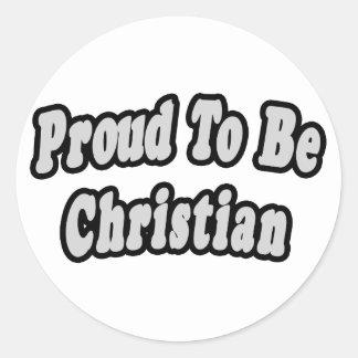 Orgulloso ser cristiano etiqueta redonda