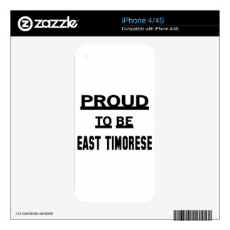 Orgulloso ser de Timor del Este Calcomanía Para iPhone 4S