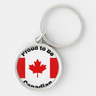Orgulloso ser diseño canadiense de la bandera llavero redondo plateado