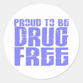 Orgulloso ser droga libere 2 azules claros pegatina redonda