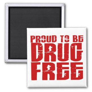 Orgulloso ser droga libere 2 imán cuadrado