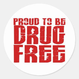Orgulloso ser droga libere 2 pegatinas redondas