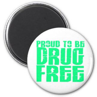 Orgulloso ser droga libere 2 verdes claros imán redondo 5 cm