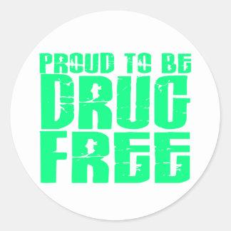 Orgulloso ser droga libere 2 verdes claros pegatina redonda