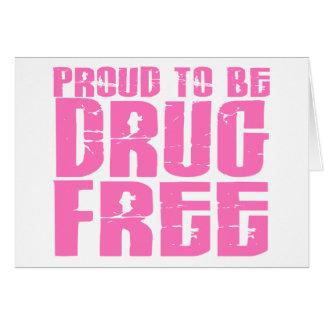 Orgulloso ser droga libere el rosa 2 felicitación