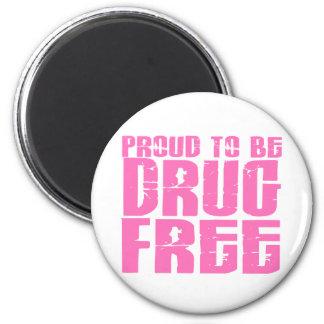 Orgulloso ser droga libere el rosa 2 imán redondo 5 cm