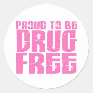 Orgulloso ser droga libere el rosa 2 pegatina redonda
